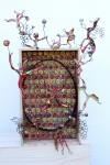 Vendanges -  bouchons peints, cercle de tonneau , silhouettes en fil de fer