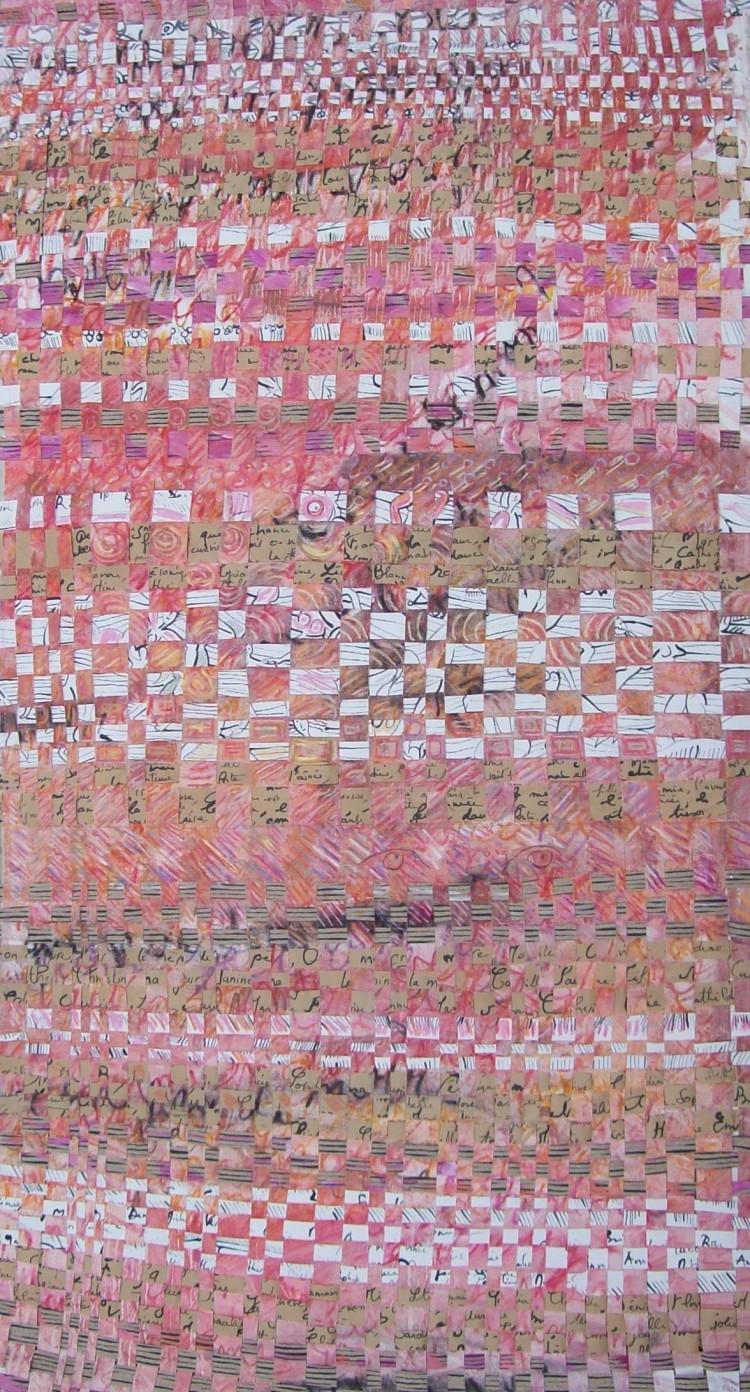 Mes femmes aimées - bannière souple  papier et toile - encre, huile, acrylique - 158 x 85